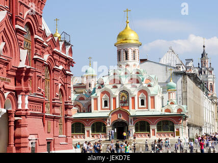 Cathedral of Our Lady of Kazan at the Red Square in Moscow, Russia - Stock Photo