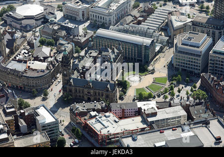 aerial view of Sheffield city centre around the Peace Gardens, incl Town Hall & Mercure Hotel - Stock Photo