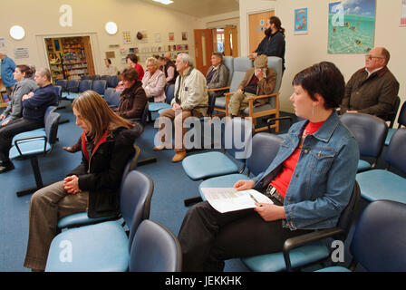Waiting room in the NHS (National Health Service) East Quay Medical Centre, Bridgwater, Somerset, UK. - Stock Photo