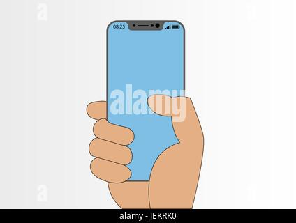 Vector illustration of hand holding modern bezel-free smartphone isolated on white background - Stock Photo