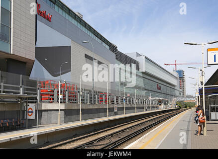 The newly constructed London Overground station at Shepherds Bush station, next to the Westfield Shopping centre - Stock Photo