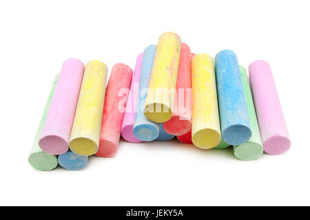 multicolored chalk isolated on a white background - Stock Photo