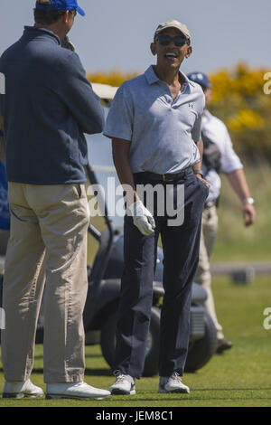 Former President Barack Obama plays a round of gold on the historic St.Andrews course in Scotland.  Featuring: Barack - Stock Photo