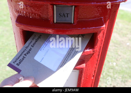 Postal voting has started in the General Election UK 2017. The Election is on June 8th 2017.  Featuring: Atmosphere - Stock Photo