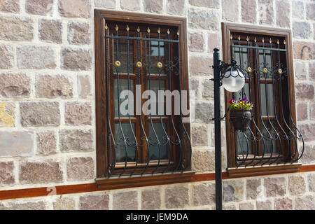 Details from exterior of historical stone houses of Ankara city,Turkey - Stock Photo