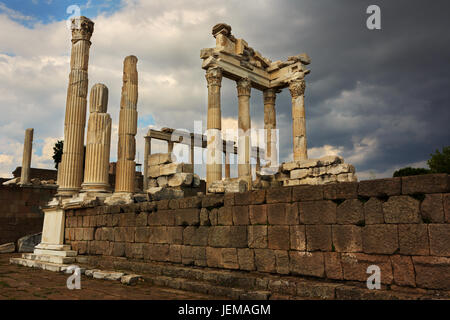 Antique city of Pergamon, Ruins of ancient Acropolis in Bergama, Izmir - Stock Photo