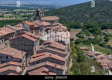Panoramic view of Frias, Burgos, Castile and Leon, Spain, Europe. - Stock Photo