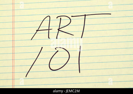 The words 'Art 101' on a yellow legal pad - Stock Photo