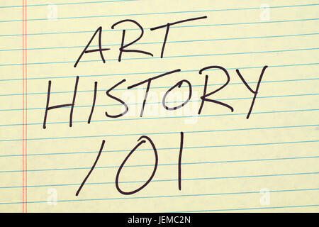 The words 'Art History 101' on a yellow legal pad - Stock Photo