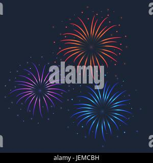 Vector colorful firework illustration on dark background - Stock Photo