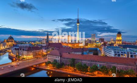 Berlin panorama city skyline when sunset at Spree River, Berlin, Germany - Stock Photo