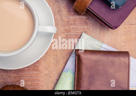 Coffee with wallet and diaries - Stock Photo