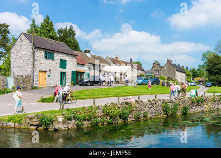 Tissington Derbyshire Village duck pond on the village green Tissington village Peak District National park Derbyshire, - Stock Photo