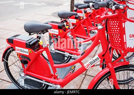 Bikes for rent in downtown Cleveland, Ohio are becoming an increasingly popular mode of transport in the city. - Stock Photo