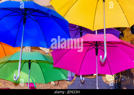 Colourful umbrellas hang from a ceiling