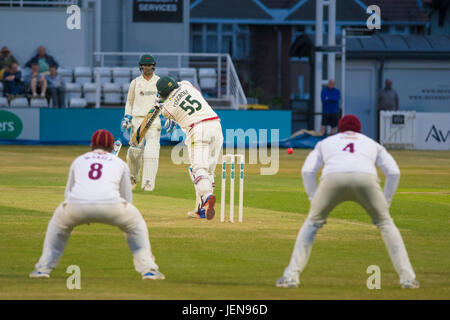 Northampton, UK. 26th June, 2017. Mark Cosgroce bats for Leicestershire during the Specsavers County Championship - Stock Photo