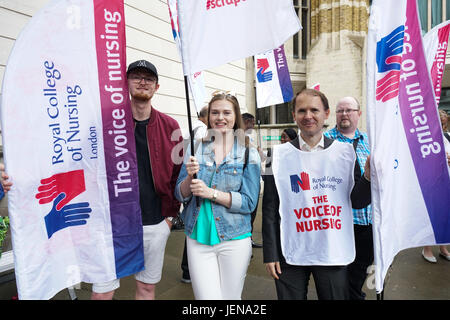 London, UK. 27th June 2017 . Royal College of Nursing London will be kicking off the Summer of Protest Jeremy Hunt - Stock Photo