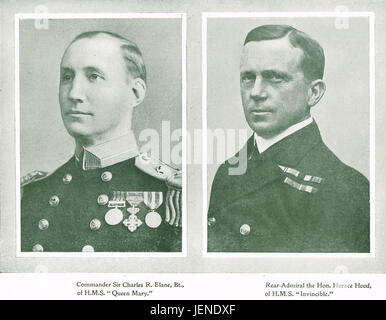 Battle of Jutland Royal Navy casualties Commander Charles Blane Of HMS Queen Mary, & Rear Admiral Horace Hood DSO - Stock Photo