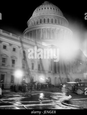 Fire Trucks at U.S. Capitol Building during Fire at Night, Washington DC, USA, Harris & Ewing, January 1930 - Stock Photo