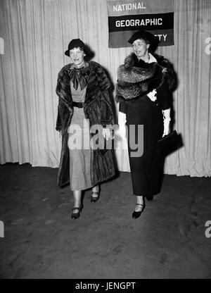 Amelia Earhart and First Lady Eleanor Roosevelt, Portrait Attending National Geographic Society Event, Harris & - Stock Photo