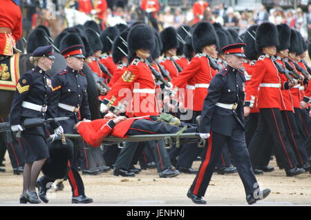 Grenadier Guard Fainting Trooping the Colour June 2016 Stock Photo Stock Image - Stock Photo