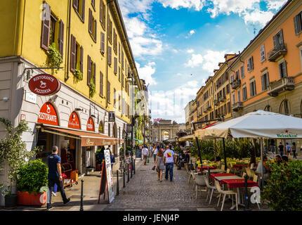Corso Como pedestrian area in Milan, Italy, a popular place to enjoy the famous Italian 'aperitivo' - Stock Photo
