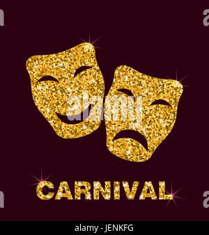 Illustration Gold Glittering Carnival Theater Mask on Dark Background - - Stock Photo