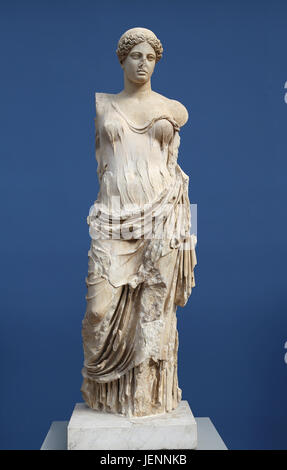 Aphrodite called Hera Borghese.  Rome. 2nd Century AD. Marble. Copy of a Greek bronze of the Classical Period. Goddess - Stock Photo