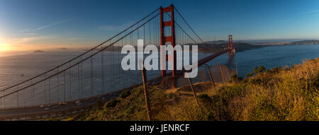 Wide Angle View of the San Francisco Bridge from the Park - Stock Photo