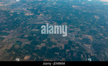 Aerial View of Square Land Parcels in California - Stock Photo