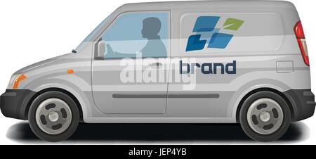 Car, vehicle, van icon. Delivery, cargo transportation, transport, traffic identity. Vector illustration - Stock Photo