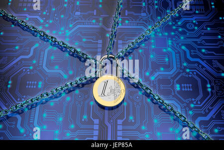 malware or ransomware attack concept padlock with money, clipping path, 3d illustration - Stock Photo