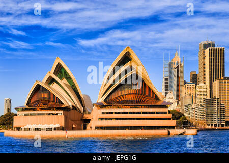 Sydney, Australia - 24 June 2017: Facade of modern contemporary artistic Opera House on Sydney city harbour waterfront - Stock Photo