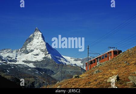 Matterhorn with corner burr road, Matterhorn mit Cornergrat Bahn - Stock Photo