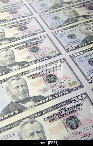 Several 50 dollar notes, Mehrere 50 Dollarscheine - Stock Photo