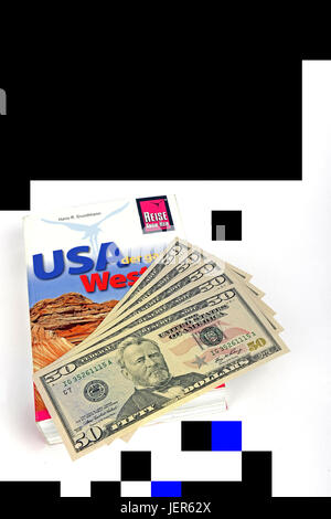 several 50 dollar notes, guides the USA, America, southwest, mehrere 50 Dollarscheine, Reisefuehrer USA, Amerika, - Stock Photo
