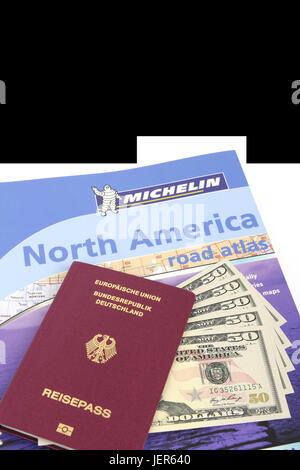 Guide the USA, southwest, passport the Federal Republic of Germany, several 50 dollar notes, street atlas North - Stock Photo