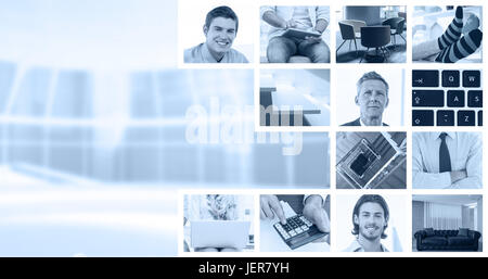 Composite image of businessmen using laptop - Stock Photo