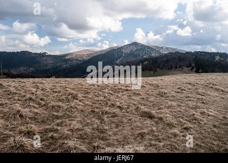panorama of spring Velka Fatra mountains near Chyzky guidepost in Liptov region in Slovakia with mountain meadow, - Stock Photo