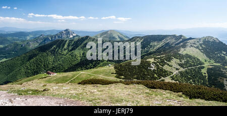 spectacular mountain panorama with Mala Fatra main ridge from Chleb to Maly Rozsutec hill from highest hill of Mala - Stock Photo