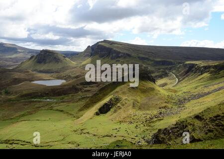 View over the mystical landscape of the Quiraing mountains Isle of Skye Trotternish Inner Hebrides Scotland UK GB - Stock Photo