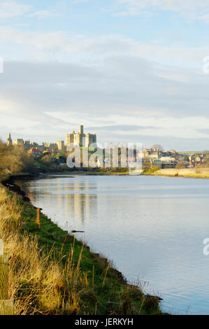 view of Warkworth castle and the river Aln near Alnwick - Stock Photo