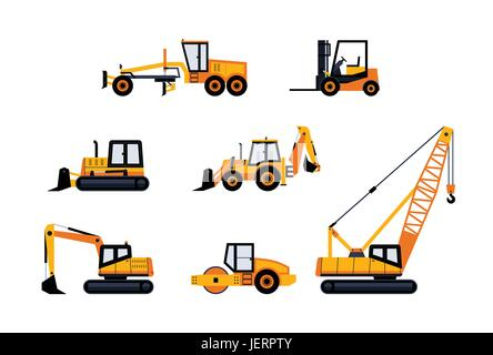 Construction Vehicles - modern vector flat design icon set. Loader, excavator, backhoe, bulldozer, crane, paving - Stock Photo
