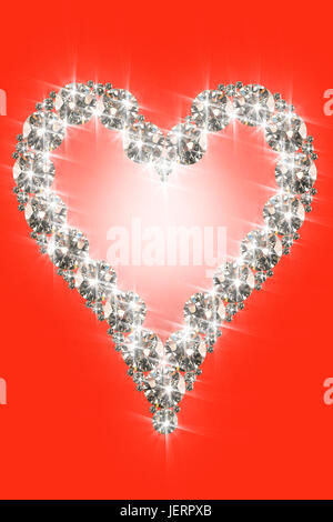 close up shot of conceptual shiny diamond heart shape - Stock Photo