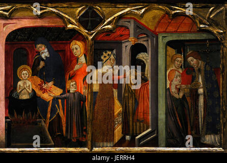 Jaume Serra (active in Barcelona, 1358-d.1389/1395). Spanish painter. Altarpiece of the Virgin, ca.1367-1381. Detail - Stock Photo