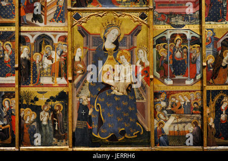 Jaume Serra (active in Barcelona, 1358-d.1389/1395). Spanish painter. Altarpiece of the Virgin, ca.1367-1381. Detail. - Stock Photo