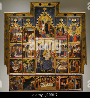 Jaume Serra (active in Barcelona, 1358-d.1389/1395). Spanish painter. Altarpiece of the Virgin, ca.1367-1381. Gothic. - Stock Photo