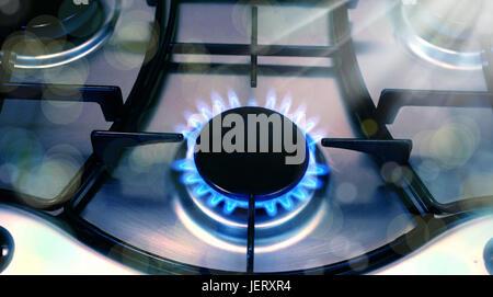close up stove top burner - Stock Photo