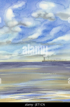 Morning by the sea with clouds waves watercolor background. Summer beach - Stock Photo