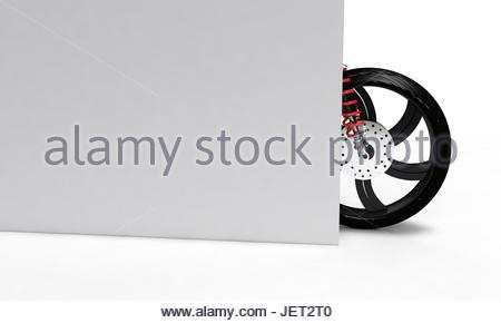 white walled tyre on a old cadillac motorbike wheel and wall 3d render working stock photo
